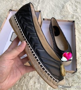2020 New women's Leather espadrille with Double luxury designer shoes 602505 women's fisherman shoes fashion casual leather top qu