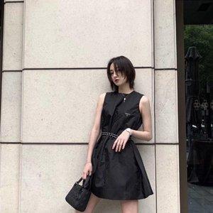2020 Европейские американские взрывы ретро классические женщины платьев вскользь платье треугольника OEM рукавов расширенного пояса почин нейлон лето пародии