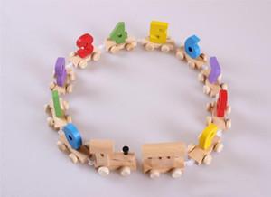 Творческий Деревянный Поезд Модель Игрушка-Головоломка С Числовым Узором Дети Ранние Развивающие Игрушки Забавный Подарок Партии