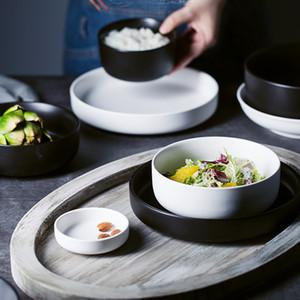 MUZITY Keramikplatten mit Schüsseln Set Porzellantischrund Geschirr und Suppenschüsseln T200430