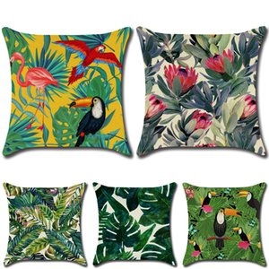 2020 Fashion style Rainforest Leaves Plants Hibiscus Flower Throw Linen Pillow Case Chair Sofa Cushion Cover Cushion case