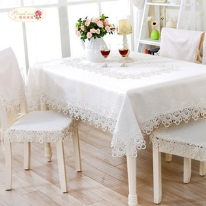 Proud Rose White Lace Table Cloth Cover Towel Table Runner Chair Cover Wedding Decoration Round Tablecloths Chair Cushion T200707
