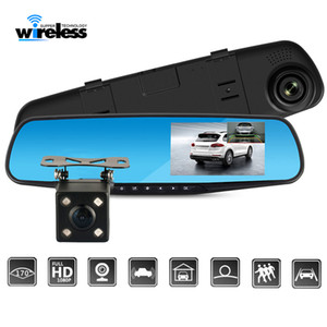 Full HD 1080P Araç Dvr Kamera Oto 4,3 inç Dikiz Aynası Dijital Video Kaydedici Gece Görüş Çift Lens Registratory Kamera