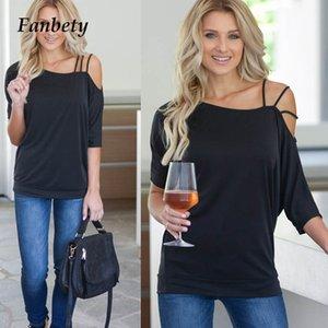 Fanbety женщин сексуальный ремень одного плеча блузка рубашка элегантный лето свободного покроя половина рукавом свободные blusa топы пуловер размер 3XL