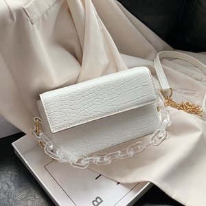 Transparent Acrylic Design PU Leather Flap Bag Lady Crossbody Bag Women 2020 Solid Color Shoulder Handbags Female Cross Body Bag