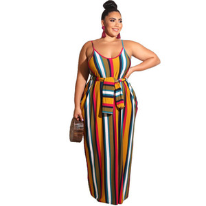 New Sexy Dresses Women Stripe Jumpsuit Bandage Stappy Long Romper Sleeveless Plus Size Sundress Beach Casual Fashion Streetwear Outfit