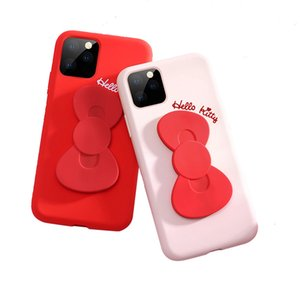 For Iphone11 Pro Max Xr Xs Hello Kitty Series Phone Cases With Phone Holder Liquid Silicone Protective Lens Soft And Anti-collision