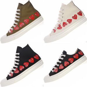 1970 PLAY 덩어리 테일러 1970 년대 70 년대 웨이브 포인트 무지개 미소 얼굴을 스케이트 보드 높은 탑 화이트 남성 여성 운동화 캐주얼 캔버스 신발