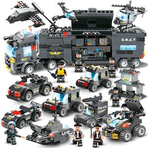647 unids 762 unids City Police Series Swat 8 en 1 City Police Truck Station Bloques de construcción de ladrillos pequeños de juguete para niños Boy Y190606