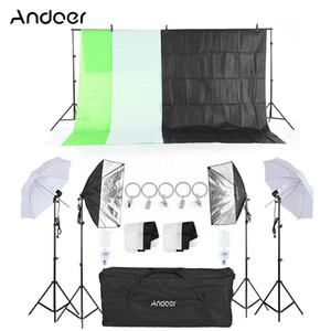 Freeshipping Kit de Equipamentos de Iluminação de Fotografia Soft Light Umbrella Softbox Titular da Lâmpada Lâmpadas Socket Backdrops Photo Studio Kits