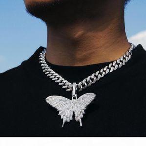 2019 Iced Out Tier Big Schmetterling Halskette Silber Blau überzieht die Männer Hip Hop Bling Schmuck Geschenk-Großverkauf