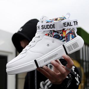 Hombres Mujeres Super Cool Altos Tops Hombres Zapatos de graffiti Pisos casuales Clásico con cordones para hombres Top alto Cómodo Botas para jóvenes