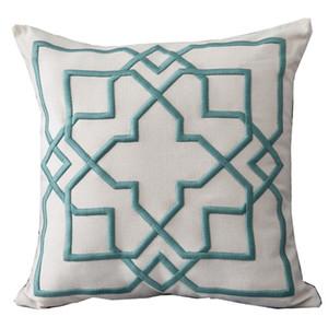 Cushion Cover Decorative Pillow Case Modern Simple 3D Geometric Linen Thread Embroidery Sofa Chair Coussin Decor