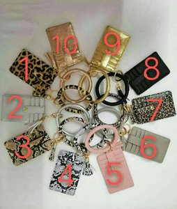 2020 Personalisierte Monogramm Leopard und Snakesleder-Leder-Armband Keychain-Kreditkarten-Brieftasche Schlüsselanhänger mit Quaste 7427086