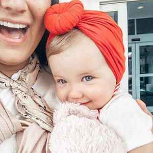 10шт Девочка Твердая Цветные круглые шапки bebés Новорожденный Глава Тюрбан Hood Knotted Cap Hat Cotton Soft Head обруча Infant Beanie