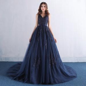 Décolleté en V ouvert Retour Tulle Navy Parti robe bleue cristaux perles Appliques abordables Robes de bal Princesse balayage train Robes de bal