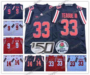 2019 Огайо State Buckeyes #9 Binjimen Victor 14 KJ Hill 33 Master Teague III Bosa черный белый красный сшитый 150-й NCAA футбол Джерси