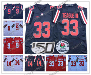 2019 Staat Ohio-Rosskastanien # 9 Binjimen Victor 14 KJ Hill 33 Meister Teague III Bosa Schwarz Weiß Rot genähtes 150. NCAA Football Jersey