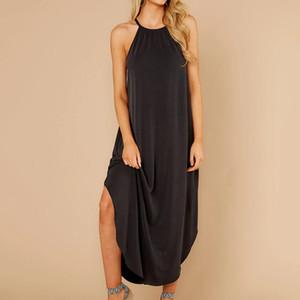 Womens assimétrica Backless Vestidos Ladies Halter Painéis Vestido Spring Fashion Womens vestuário Mid cintura