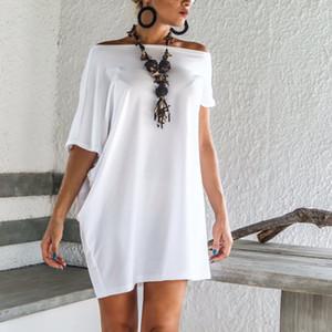 2020 Mulher designer de Verão vestidos elegantes Maxi Moda Primavera Oblique Assimétrico design de manga curta soltas Senhoras Casual Vestidos de praia