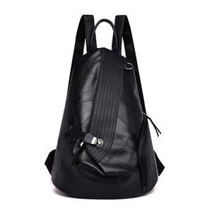 Backpack female new Korean fashion wild casual travel large capacity soft leather student double back female bag