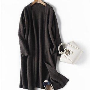 Женщины черный кардиган Женщины Вязаные Длинные кардиганы свитера Элегантная осень зима теплая пальто свитера Азиатский размер S-XL
