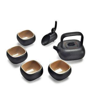 Kung Fu Tea Black Glaze Teapot Set Tea Cups Chinese Ceramic Beauty Teapot Set with Tea Cups Chinse Teapot Gift
