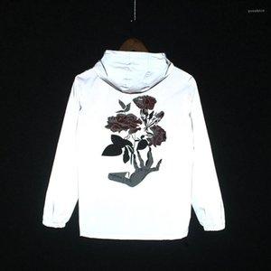 Jacken Rose Blume gedruckt Hihop Windjacke mit Kapuze Herbst Frühling 2020 Mens 3M Reflective