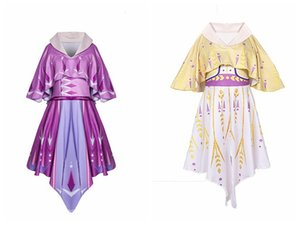 2020 Brasão Princesa vestido de festa completa Desempenho saia 3-10T New Style Cosplay Vestido Com Manto Vestidos Metade Inverno de manga