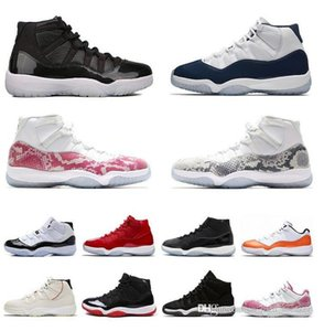 2020 New fashion Snakeskin 11s Women Basketball Shoes UNC Gym Red Gamma Blue NakeskinJordan 11 Men Trainer SneakerHive#
