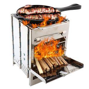 Portatile dell'acciaio inossidabile del BBQ area barbecue bruciatore del forno esterno del giardino barbecue carbone partito di cottura pieghevole da picnic con Storage Bag C71