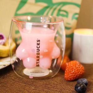 dooor에서 차 얼굴 8온스에서 컵을 동반 새로운 스타 벅스 벚꽃 고양이 발톱 유리 컵 사쿠라 핑크 이중 절연 커피 컵