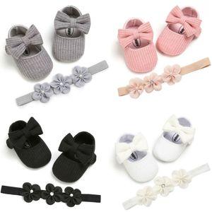Chaussures bébé Casual Chaussures Filles Bow douce Sole coton de mariée Princesse Princess Party Flats Berceau antidérapage Prewalkers + Bandeau