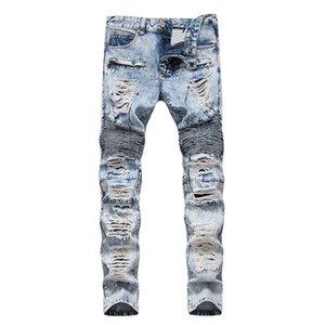 Mcikkny dos homens rasgado angustiado calças jeans lavado furos plissados denim calças para o sexo masculino em linha reta tamanho 29-38