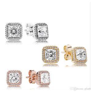 925 Sterling Silver Square Big CZ Brinco de Diamante Fit Pandora Jóias ouro rosa banhado Brinco Mulheres Brincos