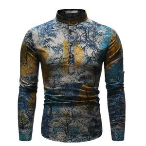 Camisa de la noche estrellada Imprimir Mens Casual Ropa pintura al óleo Estilos Homme Tops para hombre de estilos étnicos
