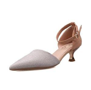 Vente chaude-nouvelle simple boucle à un bouton talons chaussures à talons hauts version coréenne de la bouche peu profonde creuse pointue avec des femmes
