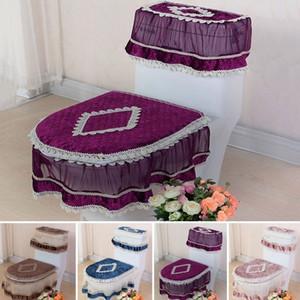 3Pcs Lace Toilet Seat Pad serbatoio coperchio superiore Cover Set lavabile Closestool panno (copertura del serbatoio di acqua + Toilet Seat Cover + Toilet Seat)