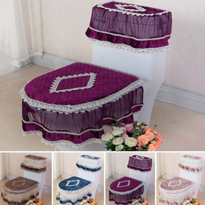 3Pcs Lace Washable (Water Cover Seat) Cover Top Lid Set Closestool Toilet Cloth Seat Tank Cover+Toilet Tank Seat+Toilet Pad Rkldp