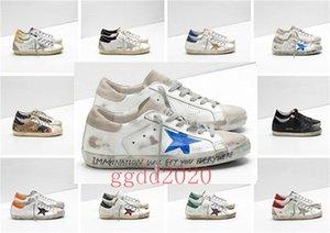 Italia Marca multicolor talón de oro Superstar Gooses diseñador zapatillas de deporte de los hombres / mujeres blanco clásico Do de edad sucios zapatos casuales zapatos Tamaño EUR 35-45