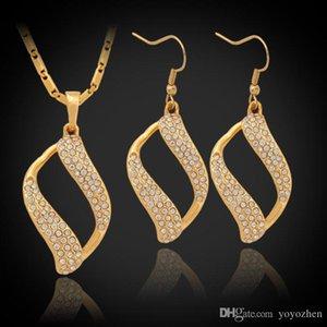 Vintage Scroll Clear Austrian Rhinestone Pendant Earrings Choker Neckace 18K Gold Plated Fashion Jewelry Set For Women YS732