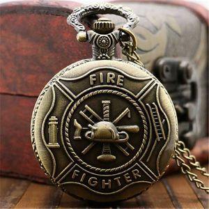 Tasca del quarzo della collana del pendente CALDO rame antico Steampunk bronzo dell'annata Gear Uomini Donne Steampunk Vintage Fire Fighter