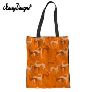 Noisydesigns Casual Grand sac fourre-tout Femmes Greyhound Pet Impression 2019 Sac à main en toile personnalisée Lady Voyage Mode Femme Crossbody