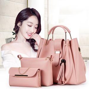 Mother-in-law elegante confezione Solido Colore Out Shopping per il tempo libero increspa la borsa composito sacchetto di grande capacità della nappa Shoulder Bag
