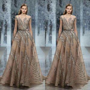 Вечернее платье Ziadnakad с длинным рукавом высокая шея бальное платье Серебряный Кристалл Zuhair Murad 2020 Yousef aljasm Kim kardashian Kylie Jenner