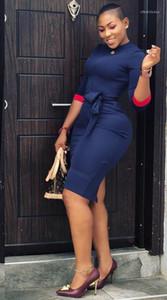 Gestreifte Drucken Damen Kleider mit Rundhalsausschnitt Sexy Damen Bodycon Kleider Herbst lange Hülsen-beiläufige Kleider Solid Color Panelled