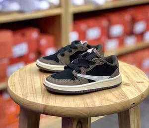 Se você gosta de você pode diretamente orderInfant Shoes Travis Scotts 1 Baixa sapatilha Bred roxo Toddlers Low Cut Sneakers Pine Verde infantil I Sneaker