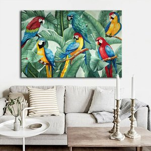 -.52-0059# Mintura Beautiful parrots Animal Framed & Unframed Home Decor Handpainted &HD Print Oil Painting On Canvas Wall Art Pictures