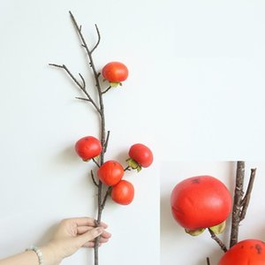 67cm 4 Colors Artificial Flower Berry Fruit Dried Persimmon BranchFor Christmas Home Wedding Decoration DIY Flower Wall Fake Flowers