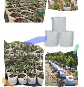 Free DHL White Round Grow Bags Non Woven Tree Fabric Pots Grow Bag With Handle Root Container Plants Pouch Seedling Flowerpot Garden Bags